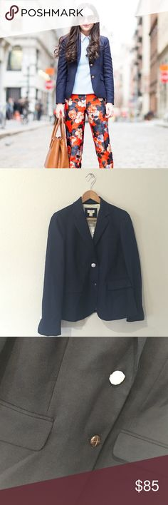 LAST CHANCE❗️Adorable J. Crew Factory Navy Blazer SO cute and perfect for layering! Brand new with tags and tissue. Buttons still covered! Two button closure and flap front pockets. No trades!! 06181650gwpg J. Crew Jackets & Coats Blazers