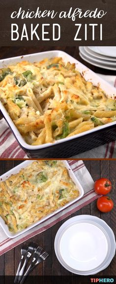 Two of our favorite family dinners come together in one delicious dish in this Chicken Alfredo baked ziti recipe - and all in less than an hour! This Chicken Alfredo Baked Ziti - featuring alfredo, parmesan and mozzarella, pasta, chicken, and broccoli - makes for a great weeknight meal that all will enjoy. Click for the recipe and how to video #dinnertime #chickendinner #pasta