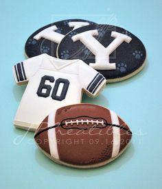 Football birthday (BYU) cookies by Crazy Cookies, Fall Cookies, Iced Cookies, Cut Out Cookies, Cute Cookies, Royal Icing Cookies, Cupcake Cookies, Cupcakes, Football Sugar Cookies