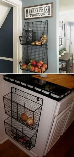 15 Insanely Cool Ideas for Storing Fresh Produce Attach wire baskets to the side of kitchen wall or cabinet. 15 Insanely Cool Ideas for Storing Fresh Produce Attach wire baskets to the side of kitchen wall or cabinet. Home Kitchens, Small Kitchen Decor, Kitchen Remodel, Kitchen Design, Kitchen Decor, Kitchen Wall, New Kitchen, Diy Kitchen, Home Decor