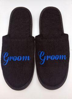 Groom slippers , black slippers , mens slippers , best man slippers , spa slippers , honeymoon slippers , hotel slippers , personalised by woodyclothing on Etsy https://www.etsy.com/uk/listing/487128465/groom-slippers-black-slippers-mens
