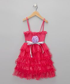 Take a look at this Hot Pink Ruffle-Tier Dress - Toddler & Girls by Koko Bean on #zulily today!