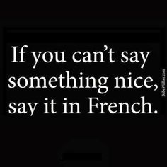 """If you can't say something nice, say it in French. (This is where the phrase """"excuse my French"""" comes from, as a sarcastic comment that even swearing in French doesn't sound offensive) Words Quotes, Me Quotes, Funny Quotes, Sayings, Qoutes, Great Quotes, Quotes To Live By, Inspirational Quotes, Motivational Quotes"""