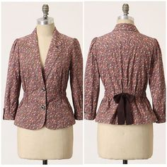 Ett Twa jacket Vala jacket by Ett Twa. Nipped by ruched sides and a wide grosgrain tieback, Ett Twa's shapely ditsy-floral jacket is lightweight and perfectly ladylike. Preloved condition.   3/4 sleeves  Button front  Cotton; cotton lining  Machine wash  Size 8 Anthropologie Jackets & Coats