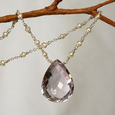 Lovely Pink Amethyst and Pearl Necklace in Solid by mommyto4, $219.00