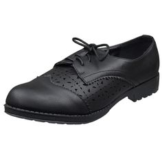 Womens Closed Toe Shoes Laser Cutout Lace Up Oxford Brogues Black footwear fashion style outfit shopping