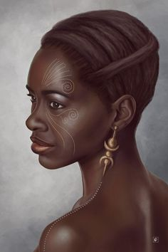 """Melanesia"" - Lilite Dumont, Photoshop {figurative art beautiful female head profile african-american black woman face portrait digital painting #loveart} lilited.deviantart.com"