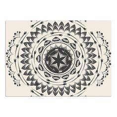 51 x 60 Wall Tapestry Kess InHouse Amanda Lane Bohemian Tribal Mandala Black Beige Digital