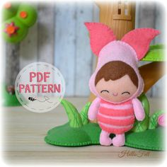 PDF Pattern. Baby Piglet, Plush Doll Pattern, Softie Pattern, Soft felt Toy Pattern. 2.00 USD