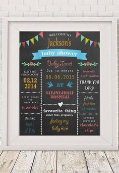 Baby Shower Chalkboard sign printable  Baby Boy by NotMuchToSay