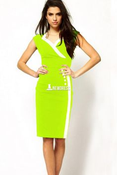 New Stylish Ladies Women Casual Sleeveless Patchwork Button Career Business Bodycon Pencil Dress