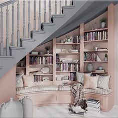 Home Library Rooms, Home Libraries, House Rooms, Bookcase Stairs, House Stairs, Bookshelves, Dream Home Design, House Design, Staircase Design