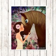 Horse Artwork Girl and Horse Print Baby Girl Nursery Decor Girl's Room Art Horse Art Wall Art Kids Art Animal Theme Print Horse Decor Art
