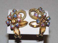 Vintage JULIANA D&E Topaz and AB Rhinestone Clip On Earrings Book Piece