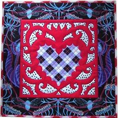 Bleeding Heart by Jane Sassaman.  Inspired by Mexican folk art designs.  Fuchsia with violet and blue.