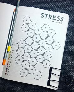 Bullet journal stress tracker layout