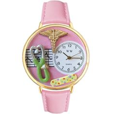 Whimsical Watches Women's G0620031 Unisex Gold Nurse 2 Pink Leather And Goldtone Watch - http://www.artistic-watches.com/2016/04/28/whimsical-watches-womens-g0620031-unisex-gold-nurse-2-pink-leather-and-goldtone-watch-2/