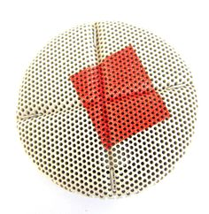 elizabeth-jane-campbell 'Off Axis' brooch in carved ceramic honeycomb block, silver and enamel - Kath Libbert Jewellery Gallery - FRAGMENTS