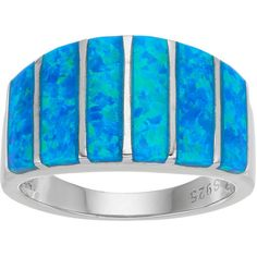 Sterling Silver Lab-Created Blue Opal Dome Ring (325 BRL) ❤ liked on Polyvore featuring jewelry, rings, blue, rectangle ring, blue opal jewelry, sterling silver opal jewelry, opal rings and blue jewellery