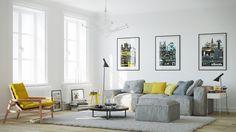 Sárga és szürke nappali lakberendezés
