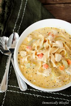 Creamy Chicken Noodle Soup - I used actual chicken, not the veggie stuff they suggest