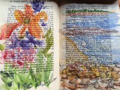 Watercolor by Tisha Sheldon re-purposed book