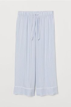 Pajama pants in woven, patterned viscose fabric. Elasticized drawstring waistband and straight, wide legs with decorative cuffs at hems. Cute Sleepwear, Striped Pyjamas, Ribbed Cardigan, Wide Leg Pants, Wide Legs, Pajama Shirt, Viscose Fabric, Tottenham Hotspur, Faux Wrap Dress