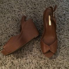 Bcbg wedges Tan size 6.5 GREAT CONDITION. Worn only once. BCBGeneration Shoes Wedges