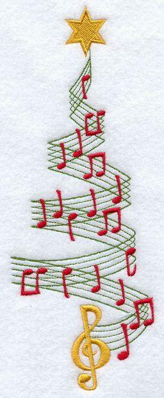 Merry Music Christmas Tree Repinned by RainyDayEmbrdry www.etsy.com/shop/RainyDayEmbroidery