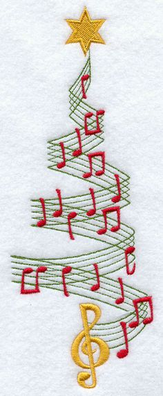 Merry Music Christmas Tree Repinned by RainyDayEmbrdry www.etsy.com/shop/RainyDayEmbroidery