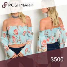 🆕Off the Shoulder floral print bell sleeve top Wow! This is the perfect vacation top! This Stunning Off  Shoulder Long Bell Sleeve Top features a smocked bodice and contrasting floral print. It is 100% polyester and stretches to fit. BellaBae Tops Tunics