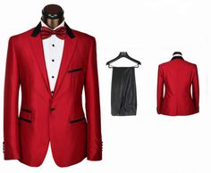 2014 New Arrival Red slim fitted Men's Formal wear suit/Groom wedding suit for men 3 pieces include( jacket +pants+bowtie) $259.00