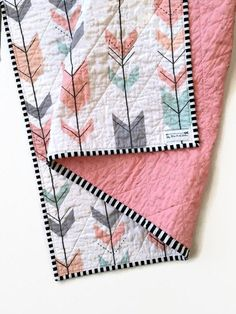 Modern Baby Quilt-Modern Toddler Quilt-Baby Quilt Blanket-Handmade Baby Quilt-Baby Quilts for Sale-Arrow Boho Tribal-Wholecloth Quilt