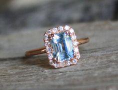 2.01 Cts. Pastel Blue Aquamarine Diamond Engagement Halo Ring in 14K Rose Gold - March Birthstone
