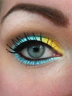 Brights! Aqua & Yellow eye makeup