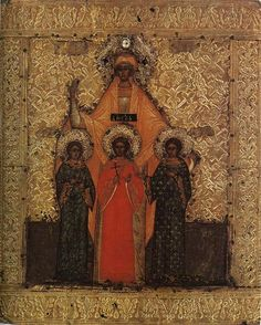 Icon of St Sophia with her daughters St Faith, St Hope, and St Love