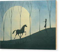 Folk Art Wood Print featuring the painting Vibe - A Folkartmama Original - Folk Art Horse by Debbie Criswell