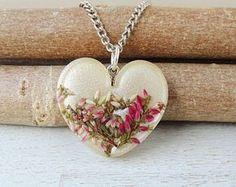 Yellow Flower Heart Necklace, Lemon Yellow Heather Resin Pendant, Botanical Jewellery, Resin Jewellery, Heather Jewellery, Flora, UK. 011