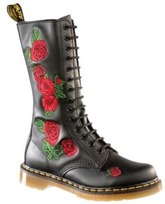 b0624202b9f Dr martens vonda p12761001 - 14 eyelets black with red roses ladies boot uk  3-9