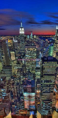Midtown Manhattan sunset through-the-window vertical pano