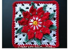 Crochet Poinsettia Granny Square