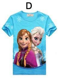 Baby girl Elsa Anna t shirt kids clothing children clothes toddler tops t-shirt cute Party Short sleeve 2015 kinder robe enfant