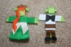 SALE Shrek OR Fiona - custom boutique hair bow clip clippie ribbon sculpture. $3.00, via Etsy.