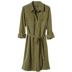 Banana Republic Women Factory Roll Sleeve Shirtdress ($46) ❤ liked on Polyvore featuring dresses, tie waist dress, banana republic dresses, banana republic, above the knee dress and sleeve shirt dress