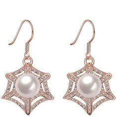 Shop for Vienna Jewelry Gold Plated Spider Web Design with Pearl Insert Drop Down Earrings. Get free delivery On EVERYTHING* Overstock - Your Online Jewelry Destination! Pearl Earrings, Drop Earrings, Bronze, 18k Rose Gold, Rose Gold Plates, Gold Jewelry, Fashion Brands, Spider, Jewelry Watches