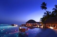 Romantic night at Maldives: quite a dream. why Bora Bora when you have Maldives, New Caledonia or even Seychelles? Dream Vacations, Vacation Spots, Beautiful Hotels, Beautiful Places, Amazing Places, Places To Travel, Places To See, Destination Voyage, Romantic Places