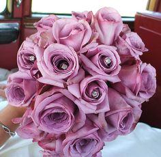 Purple Bridal Bouquets: Bouquet Crystals Add a Bit of Glitz