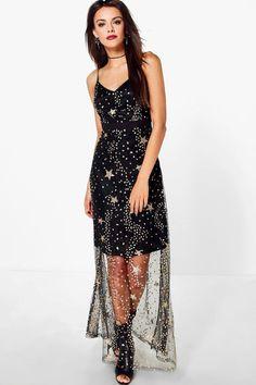 4349c16e6351 Boutique Lola Sequin Star Print Strappy Maxi Dress, $60, boohoo Boohoo  Dresses, Bodycon