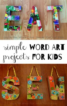 Simple word art projects for kids from guest poster Shannon of Joy in the Works. A great gift for grandparents or a kid-made addition to your home decor!