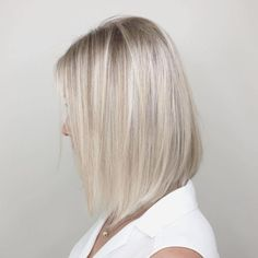 Angled Blonde Bob For Straight Hair